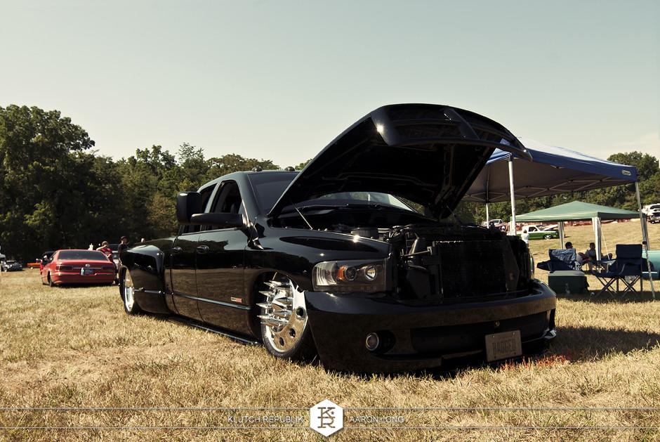 black bagged dodge 3500 dually semi wheels  at camp n drag 2012 seen on klutch republik