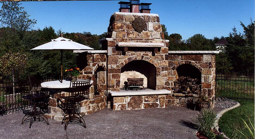 Stone Outdoor Fireplace By Ae Masonry