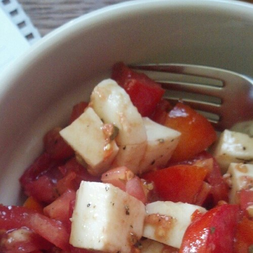 The last of my tomatoes... yummy Caprese style salad