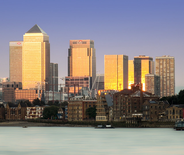 Canary Wharf from Butler's Wharf. Late Evening Sun