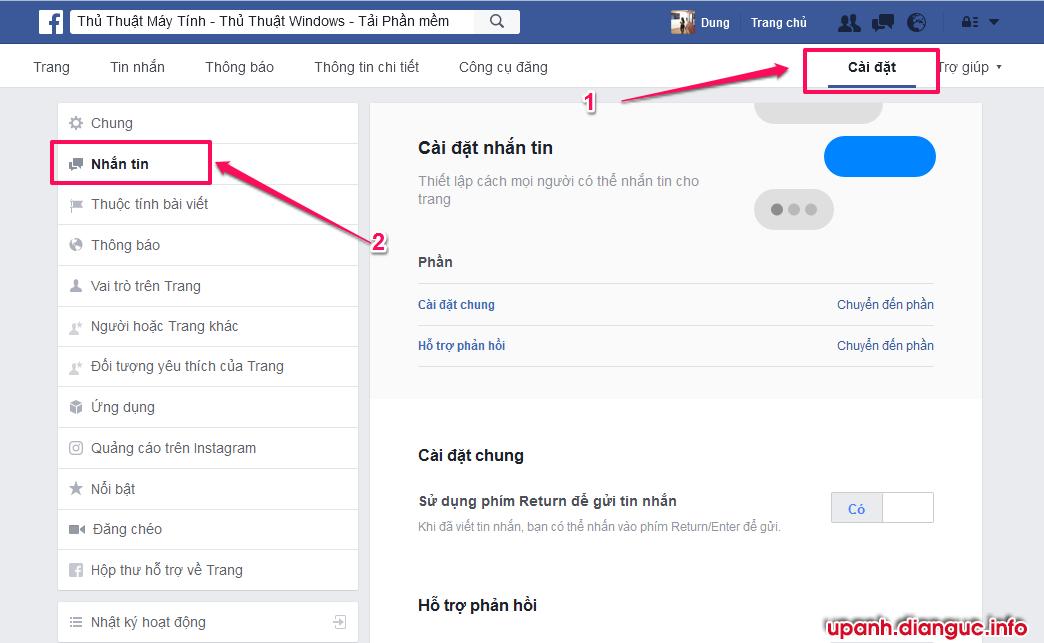 Cài đặt tin nhắn trả lời tự động Fanpage Facebook