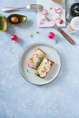 Avocado and radish toast
