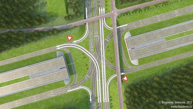 Первая фаза. Движение по Московской в сторону центр и левый поворот на Объездную в сторону Юго-Западного района