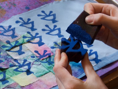 Block Printing on Embellished fabric