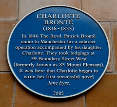 Photo of Charlotte Brontë and Patrick Brontë blue plaque