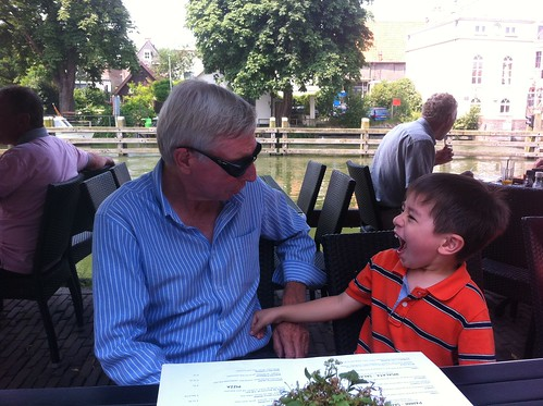 Scott having fun with opa at lunch in Muiden