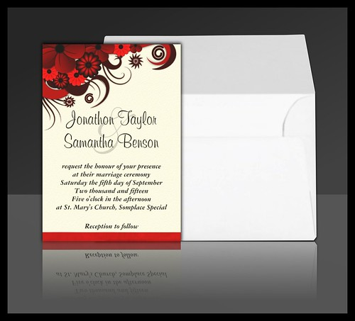 Red Hibiscus Floral Wedding Invitation Suite