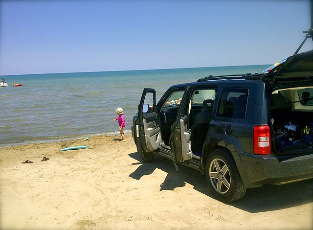 Jeep and Zed - Ipperwash Beach July 2012