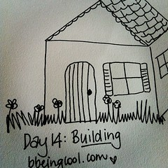 Day 14: Building. Dreaming of cubby houses... #photoadayjuly #bdrawsthings #handdrawn #catchingup