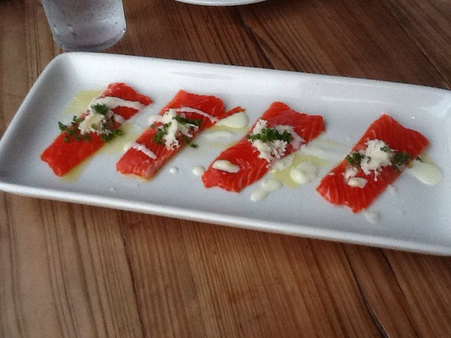 Copper River Salmon Crudo with lemon Aioli, Horseradishe, and Chive
