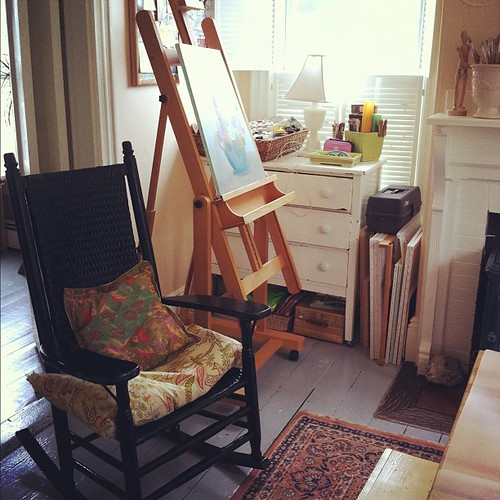 sometimes you just need to sit and think #unschooling #creativespaces #studio #organizedmess #interiors #vintage #painting