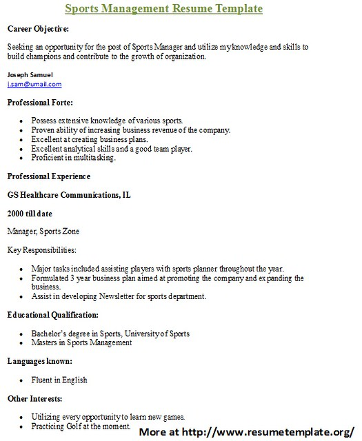 sports resume templates