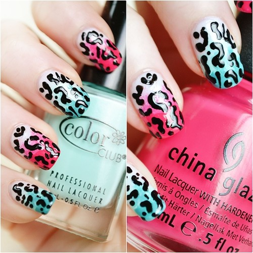 Gradient Leopard Print nails