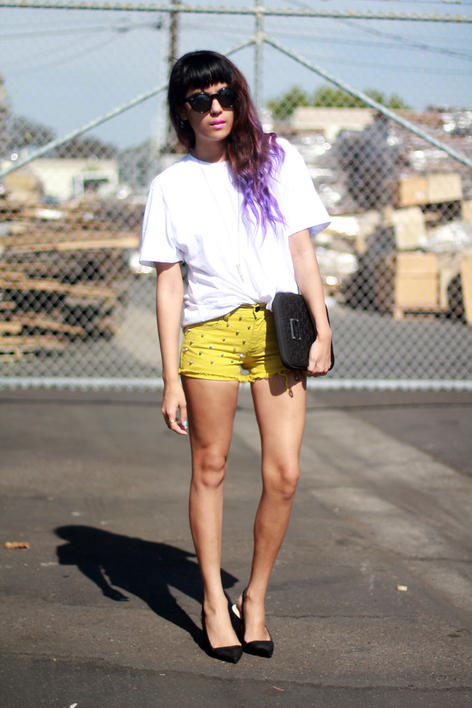 Tarte Vintage Exclusive vintage studded (Zara Alexander Wang style studs) Levi's DIY shorts available at shoptarte.com, purple ombre dip-dyed hair, Zara shoes/heels