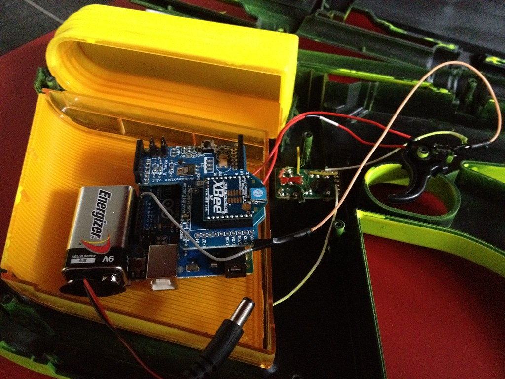 Arduino with mounted XBee inside the gun