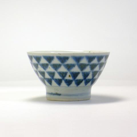 砥部焼 中田窯「飯碗(手ろくろ)/呉須・鱗文/くらわんか手」