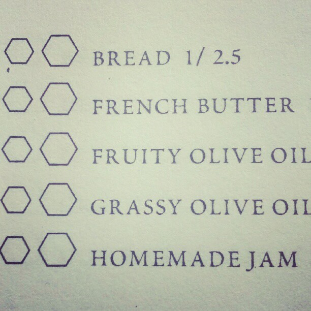 Bread butter olive oil and jam on the menu