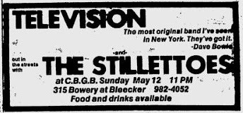 May 1974 Television-Stillettos CBGB
