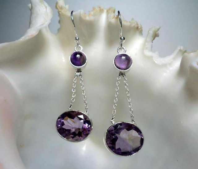 Kanishk Jewellery: Amethyst Facet Earring For $22/pair