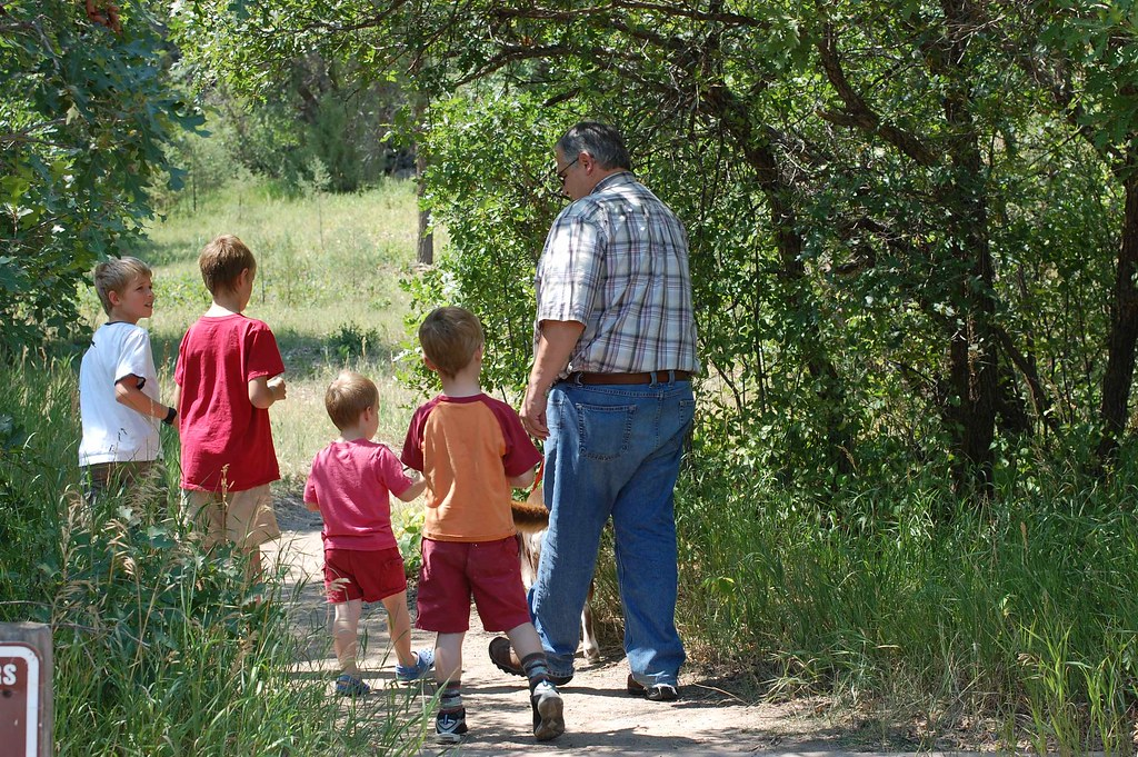 papa hiking with the boys