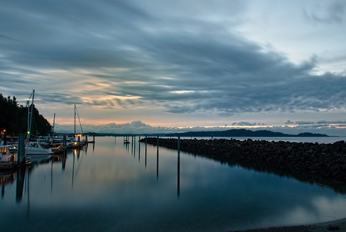 seattle blue sky water clouds reflections boats nikon pacificnorthwest pugetsound pilings pnw blakeisland blakeislandstatepark mooringbasin blakeislandblueseattle