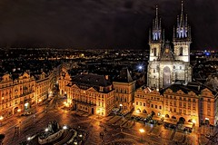 Old Town Square in Prague by night