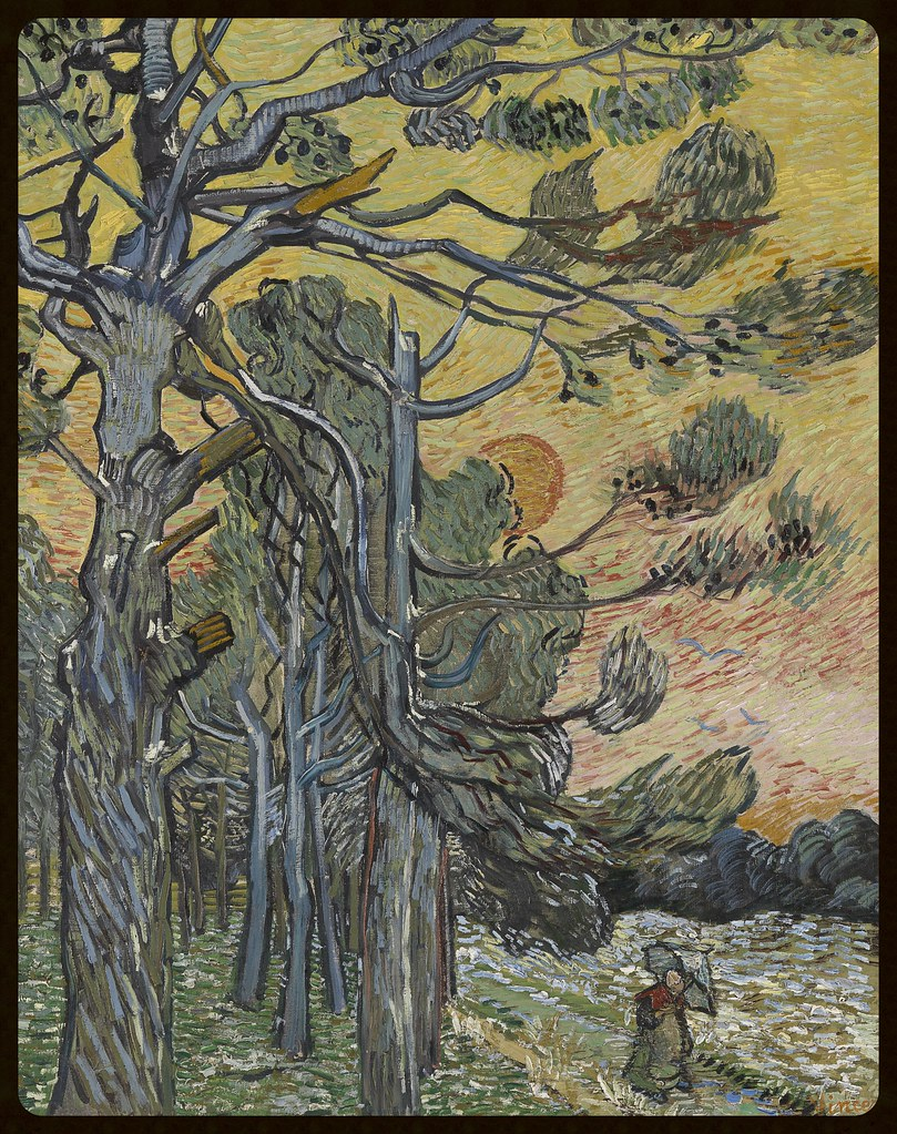 Vincent van Gogh Dutch 1853–90 Pine Trees against a Red Sky with Setting Sun 1889 oil on canvas 91.5 x 72.0 cm Kröller-Müller Museum, Otterlo © Kröller-Müller Museum