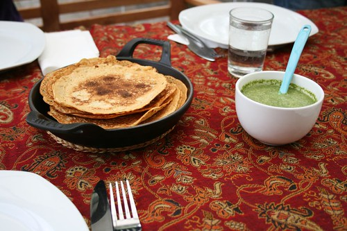 spicy chickpea pancakes with coriander-yoghurt dip