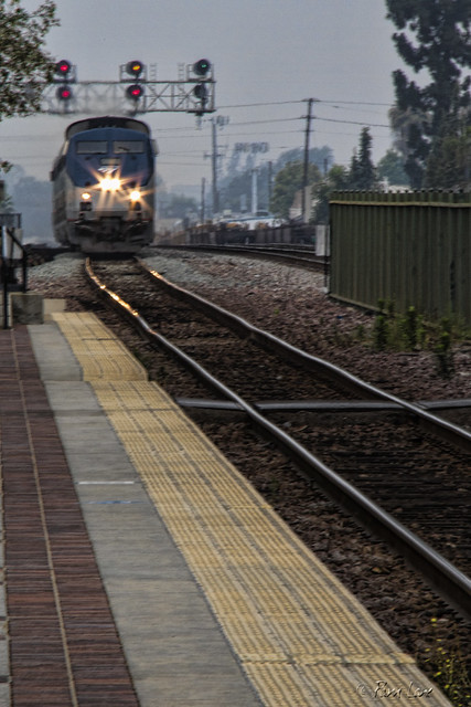 Arriving train at Fullerton train station