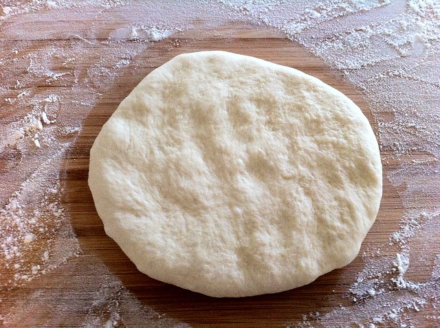 Pizza Dough Patted Out with Fingers
