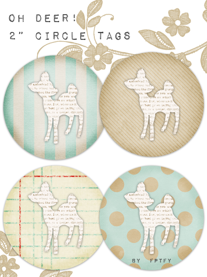 free vintage deer 2 in circle tags by FPTFY web ex