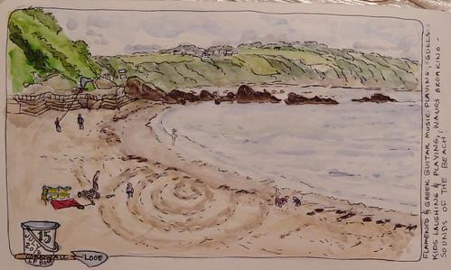 Beach at Looe, Cornwall, watercolor sketch