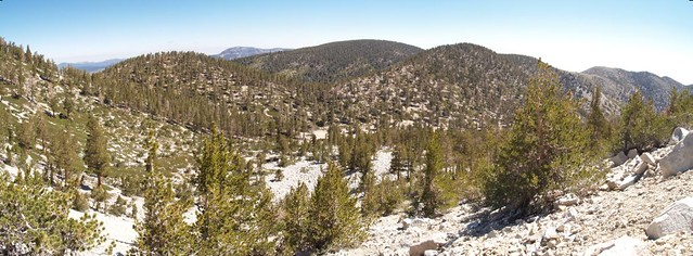 Panorama view of Zahniser, Sugarloaf, Grinnel, Lake, and 10000 Foot Ridge from the Sky High Trail