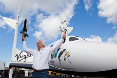 Sir Richard Branson with LauncherOne model and SpaceShipTwo Replica at Farnborough. Photo by Mark Chivers