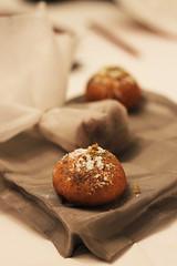 coconut(0.0), hazelnut(0.0), produce(0.0), chocolate(0.0), muffin(0.0), praline(0.0), baking(1.0), chocolate truffle(1.0), baked goods(1.0), food(1.0), dish(1.0), dessert(1.0),