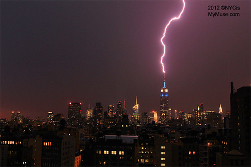 Empire State Building Zapped by Lightning, Lit Blue White for Artentina #London2012 #TeamUSA