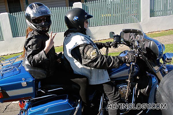 Blogger Dawn Yang riding pillion