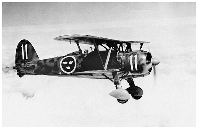 Fiat CR.42 (J 11) in flight, Swedish Air Force