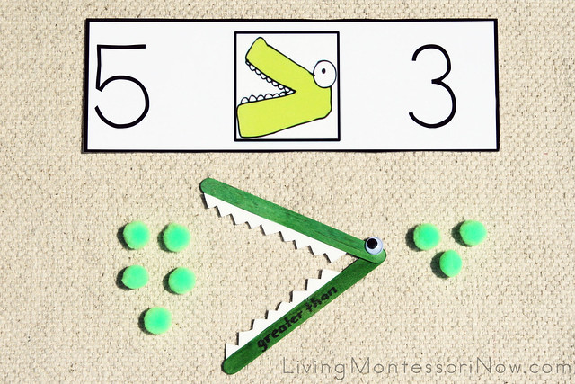graphic relating to Greater Than Less Than Alligator Printable identified as Montessori Monday - Improved Than, A lot less Than Alligator Math
