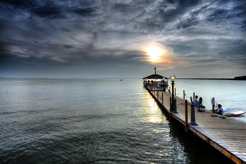 sunset cloudscape clouds sky waterscape pier dock oceancity maryland fagersisland singhraydarylbensonrgnd neutraldensityfilter relaxing summer isleofwightbay assawomanbay canon5dmkii ef1740f40lusm
