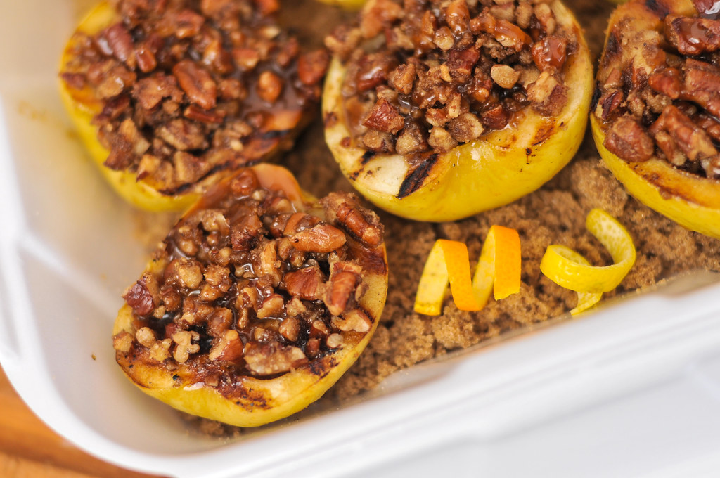 Pecan Stuffed Apples with Caramel Sauce