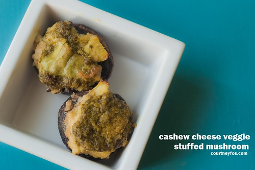 cashew cheese veggie stuffed mushrooms