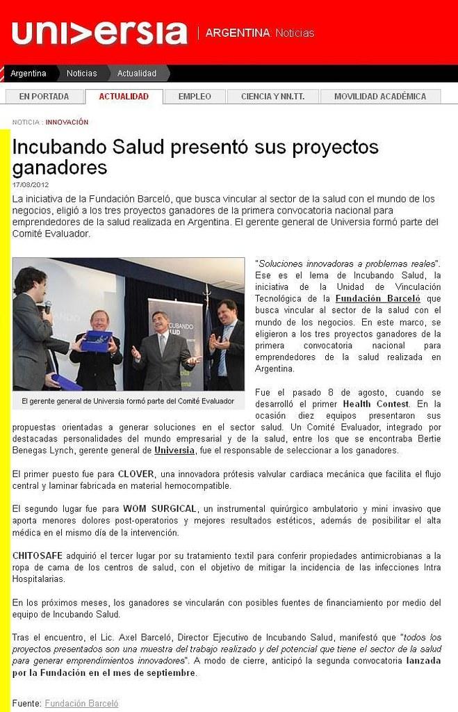 Site Universia (nota) - Incubando Salud presentó sus proyectos ganadores - 17.08.12