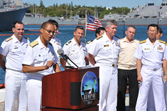 PEARL HARBOR (July 2, 2012) Adm. Cecil Haney, commander of U.S. Pacific Fleet, accompanied by senior officers of nations participating in exercise Rim of the Pacific (RIMPAC), addresses the media during a press conference announcing the start of RIMPAC. (Japan Maritime Self-Defense Force photo by PO1 Takahiro Ito)