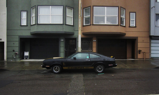 Mustang Cobra, black and gold; The Sunset, San Francisco