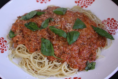 Spaghetti with Meat Sauce, Basil, and Pargmigiano-Reggiano