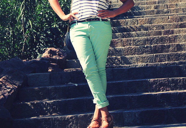 Look pantalones mint + marinero