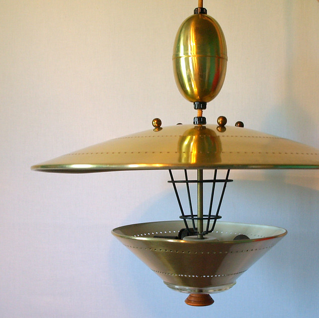 American Mid Century Modern Atomic Age Small Patio Round: UFO PENDANT LIGHTING Vintage Atomic Flying Saucer Pull Dow