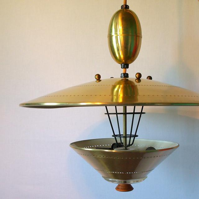 UFO PENDANT LIGHTING Vintage Atomic Flying Saucer Pull