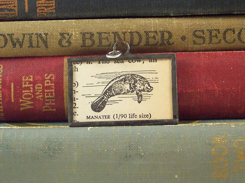 Manatee Dictionary Illustration Pendant